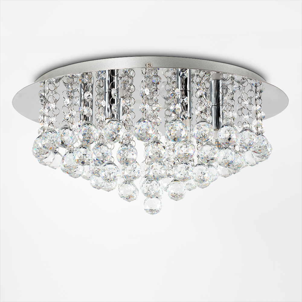 Excalibur Large K9 Glass Ceiling Fitting in Chrome