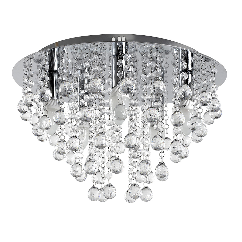 Eleska Round Ceiling Light in Chrome with Acrylic Ball Droplets