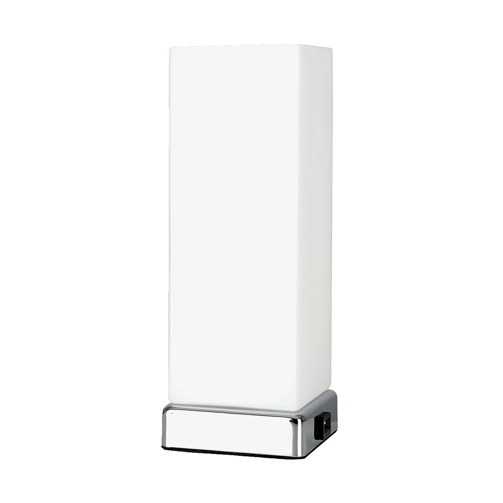 Lazio Chrome and Frosted Glass Rectangular Touch Table Lamp With USB P