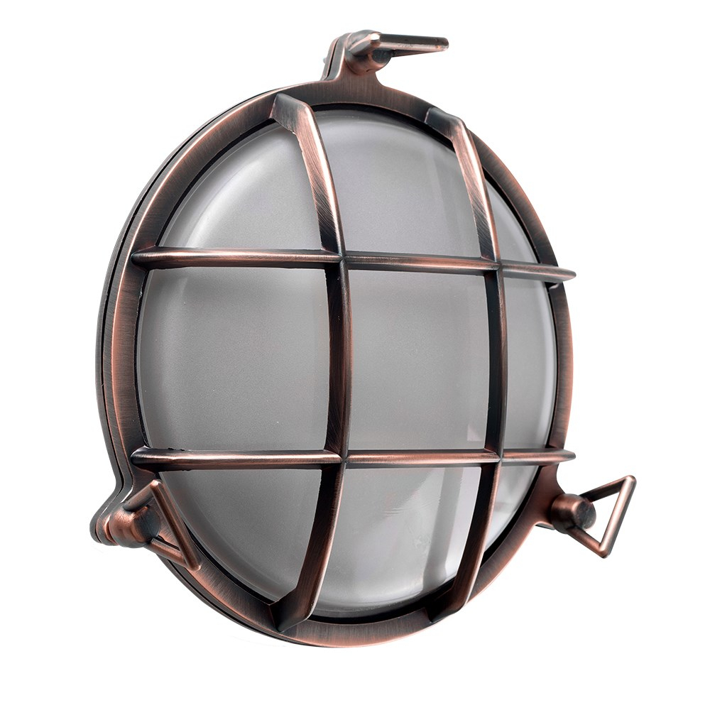 Stern IP64 Round Bulkhead Wall Light in Brushed Copper