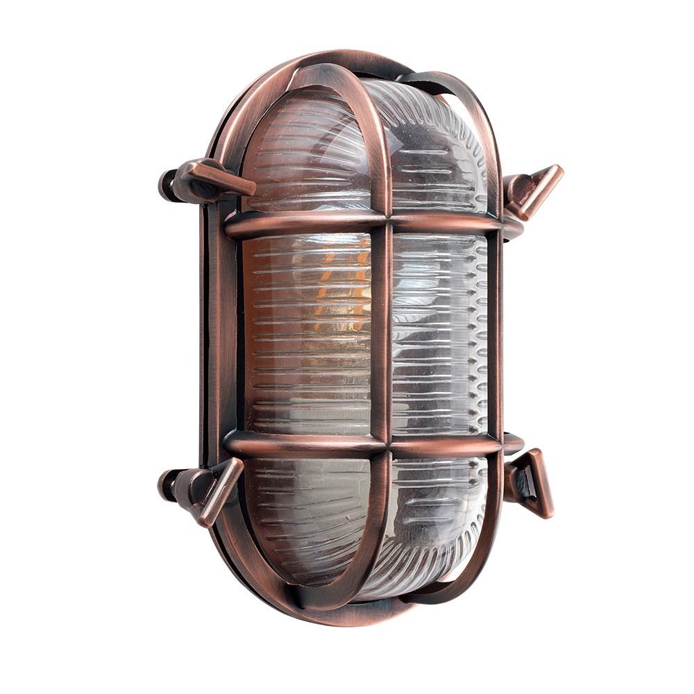 Bow IP64 Oval Bulkhead Wall Light in Copper