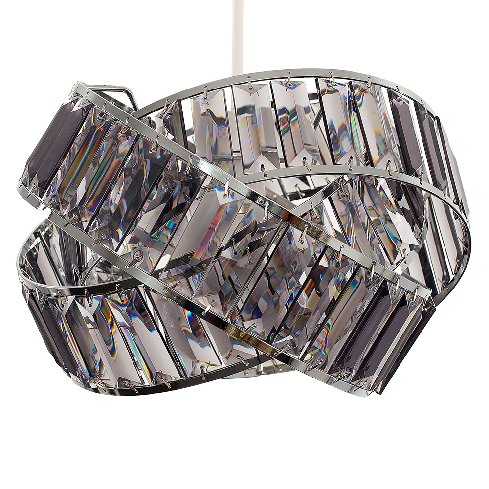 Hudson Pendant Shade in Chrome and Smoked Grey
