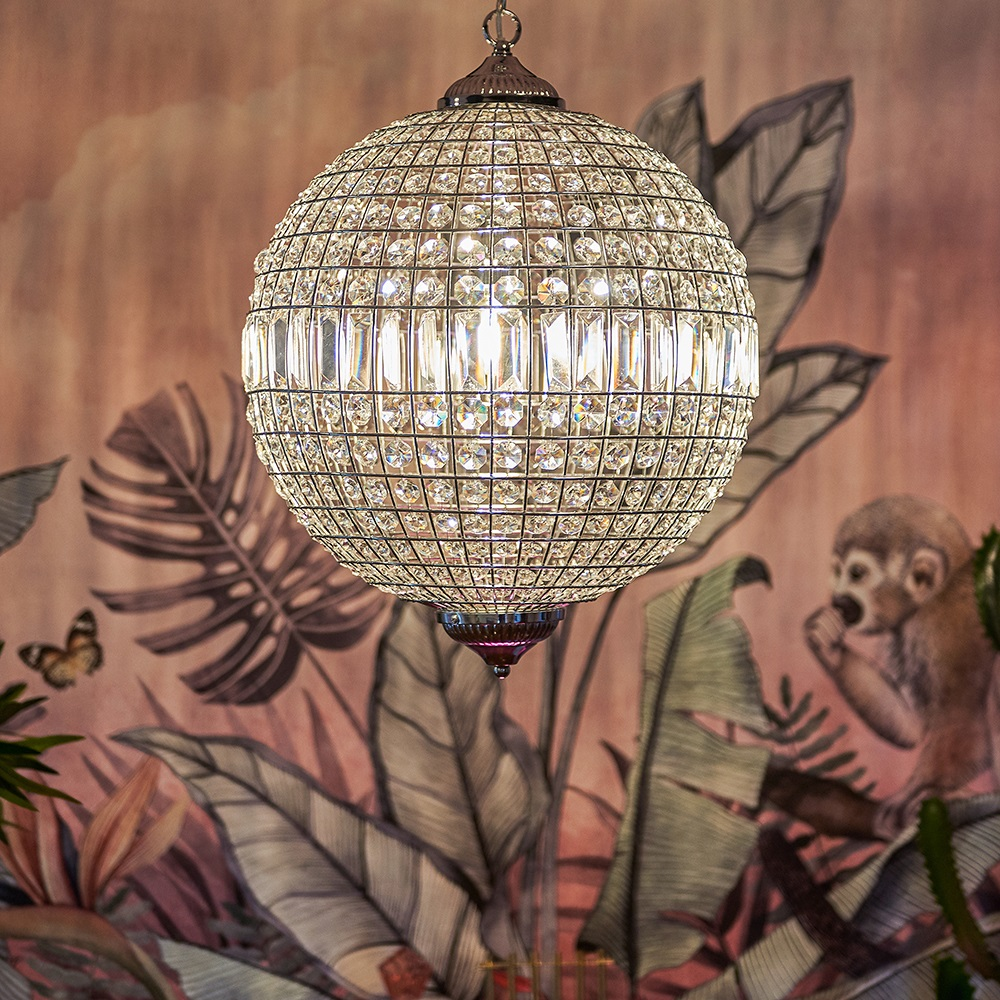 Iconic Mancunia K9 Crystal Globe Ceiling Light in Chrome