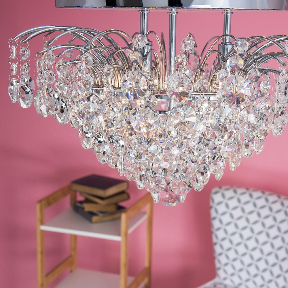 10 in. 3 Light Chrome Star Ceiling Crystal Chandelier