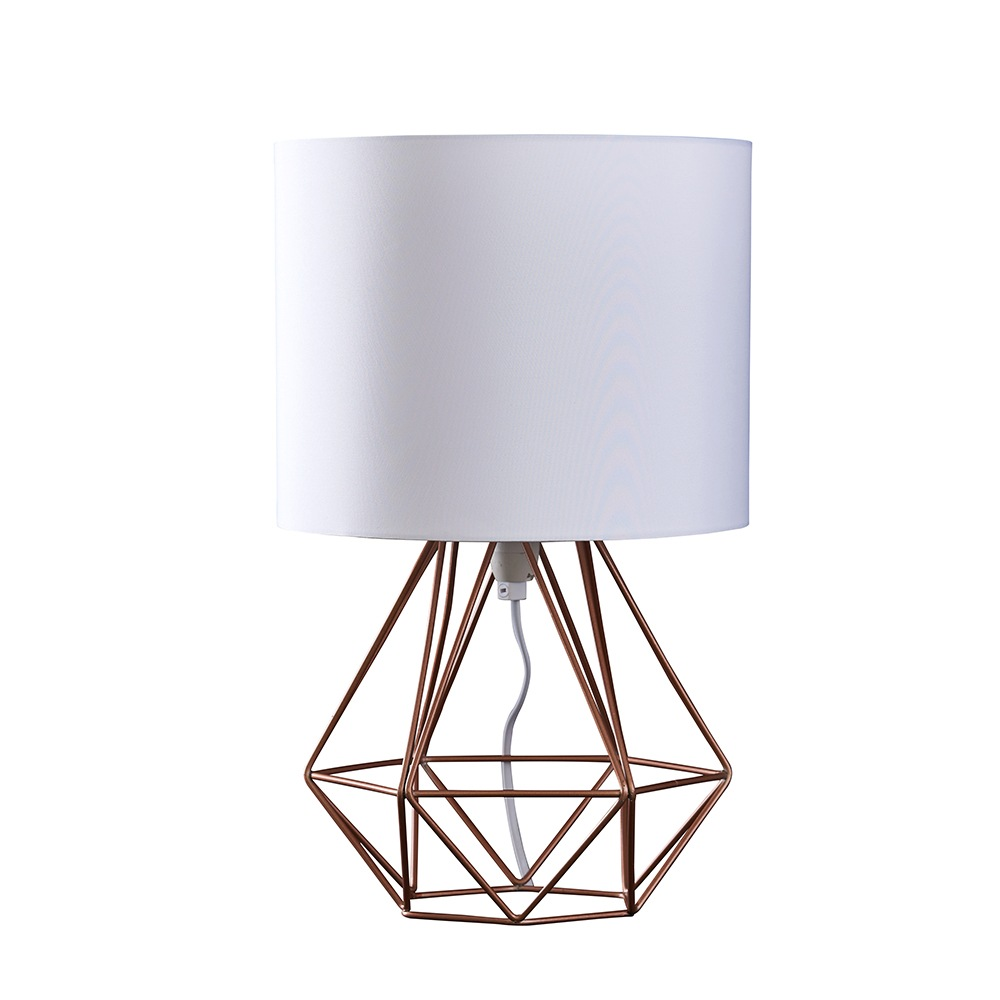 Angus Copper Geometric Table Lamp With White Shade