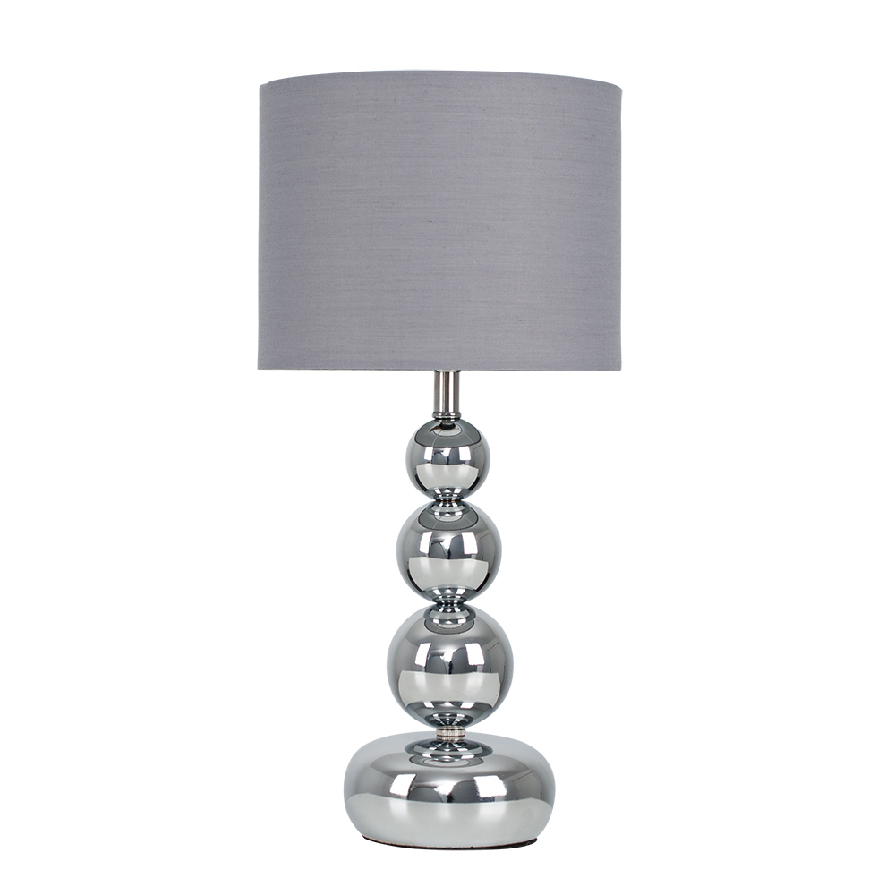 Marissa Chrome Touch Table Lamp with Grey Shade
