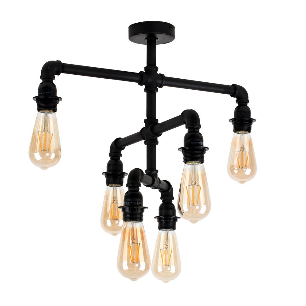 Luiggi Steampunk 6 Way 3 Tier Ceiling Light in Black