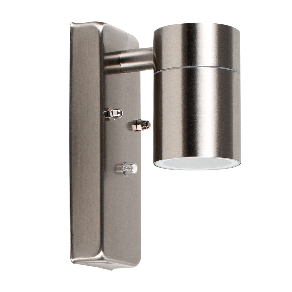 Barrow IP44 Dusk 'til Dawn Wall Downlight in Brushed Chrome
