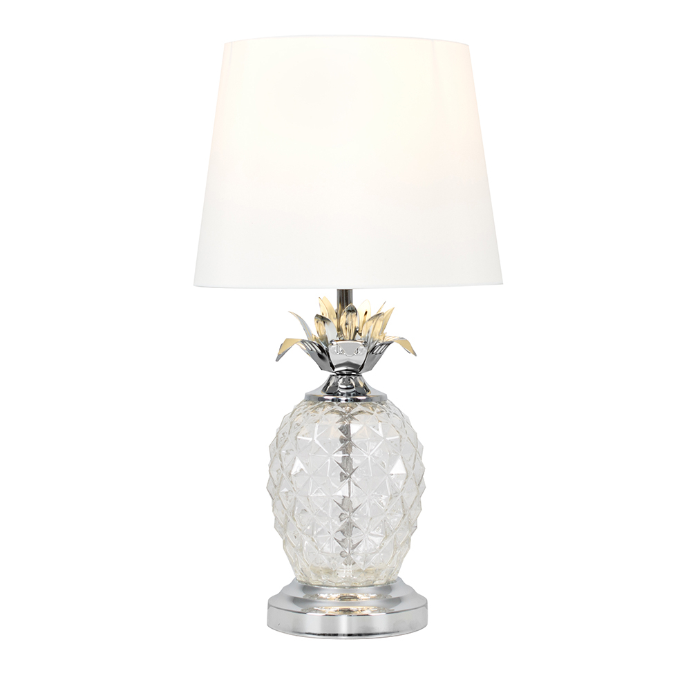 Pineapple Touch Table Lamp in Chrome with White Shade