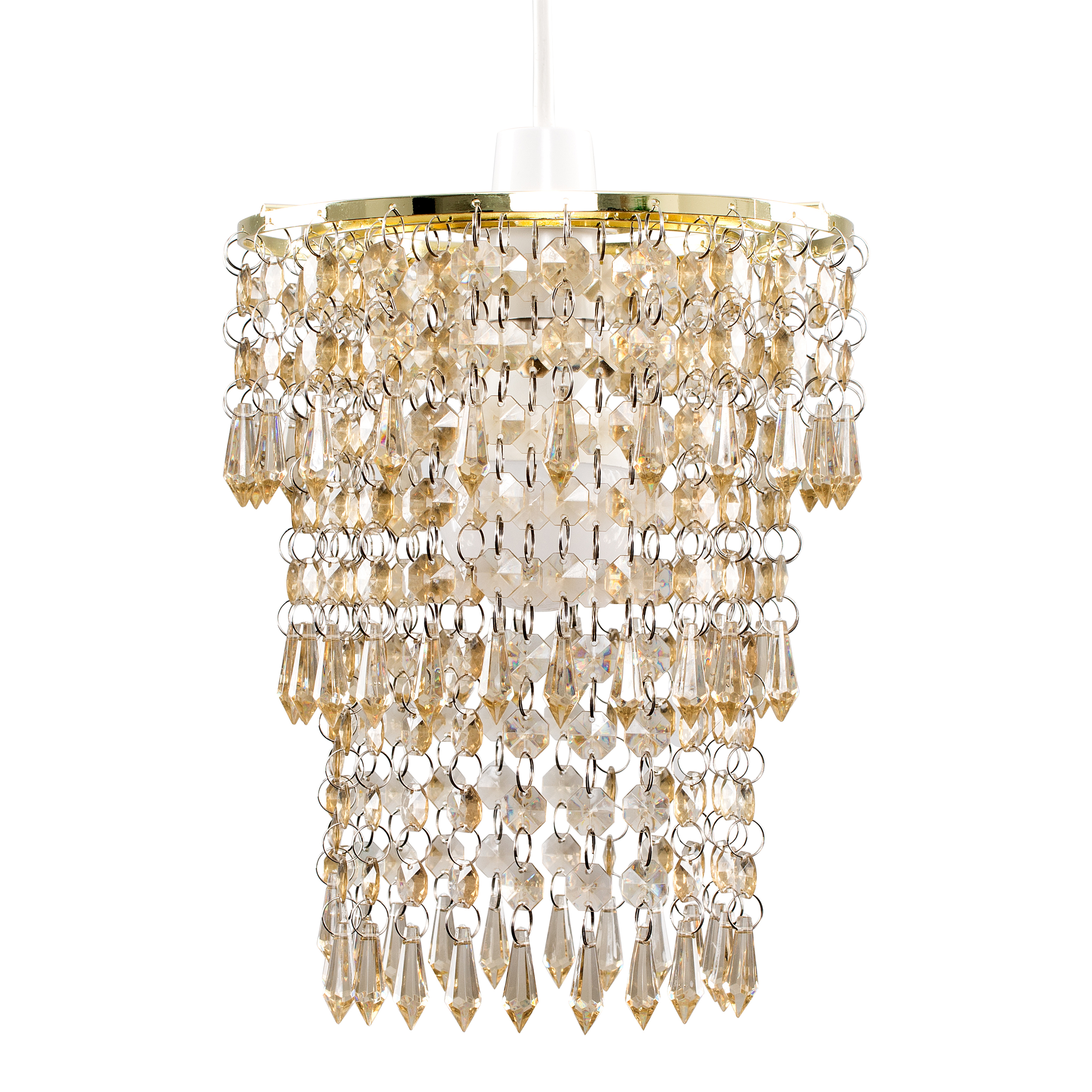 3 Tier Acrylic Droplet Pendant in Gold and Champagne