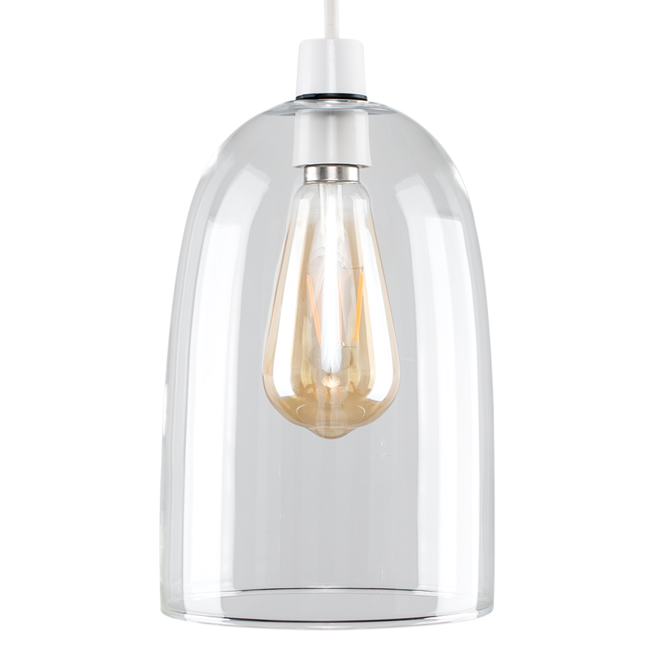 Kira Dome Shaped Light Glass Pendant Shade in Clear