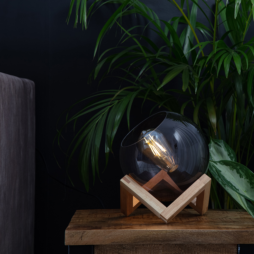 Cruz Glass Globe with Wood Stand Table Lamp