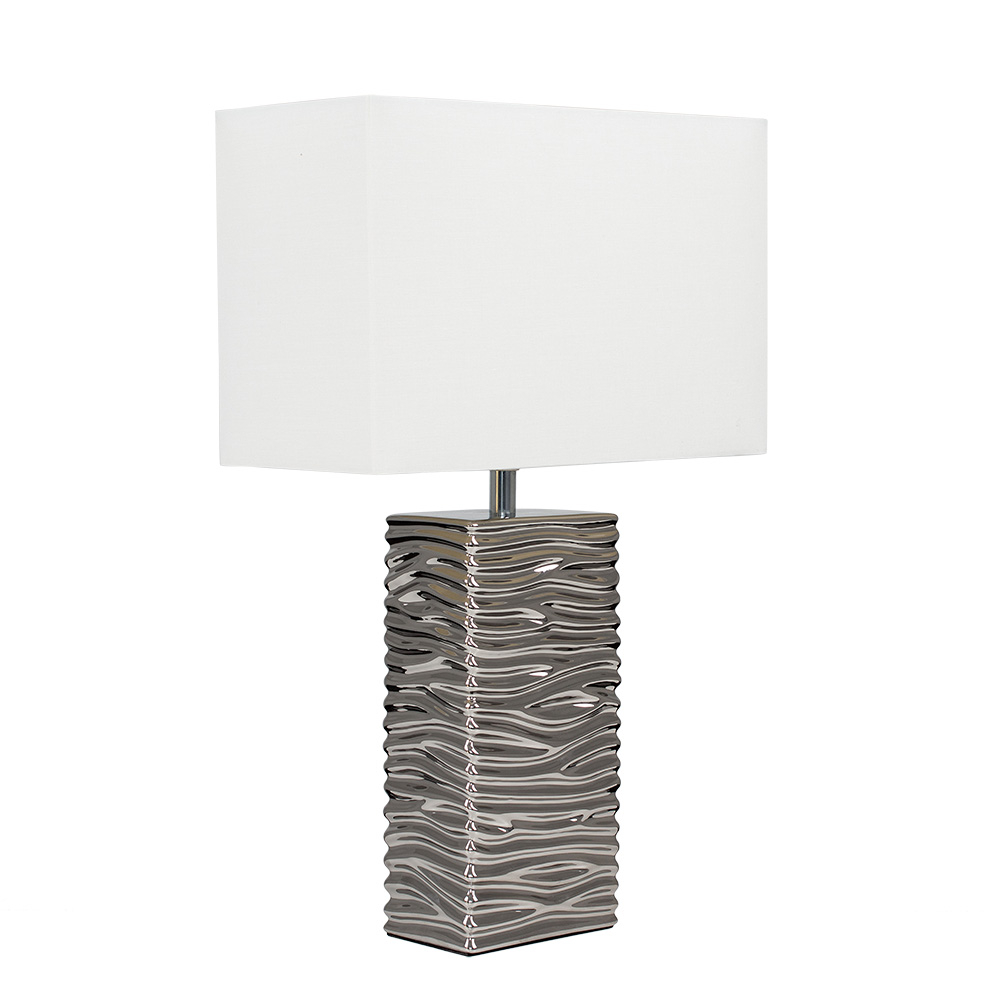 Etienne Table Lamp in Silver with White Shade