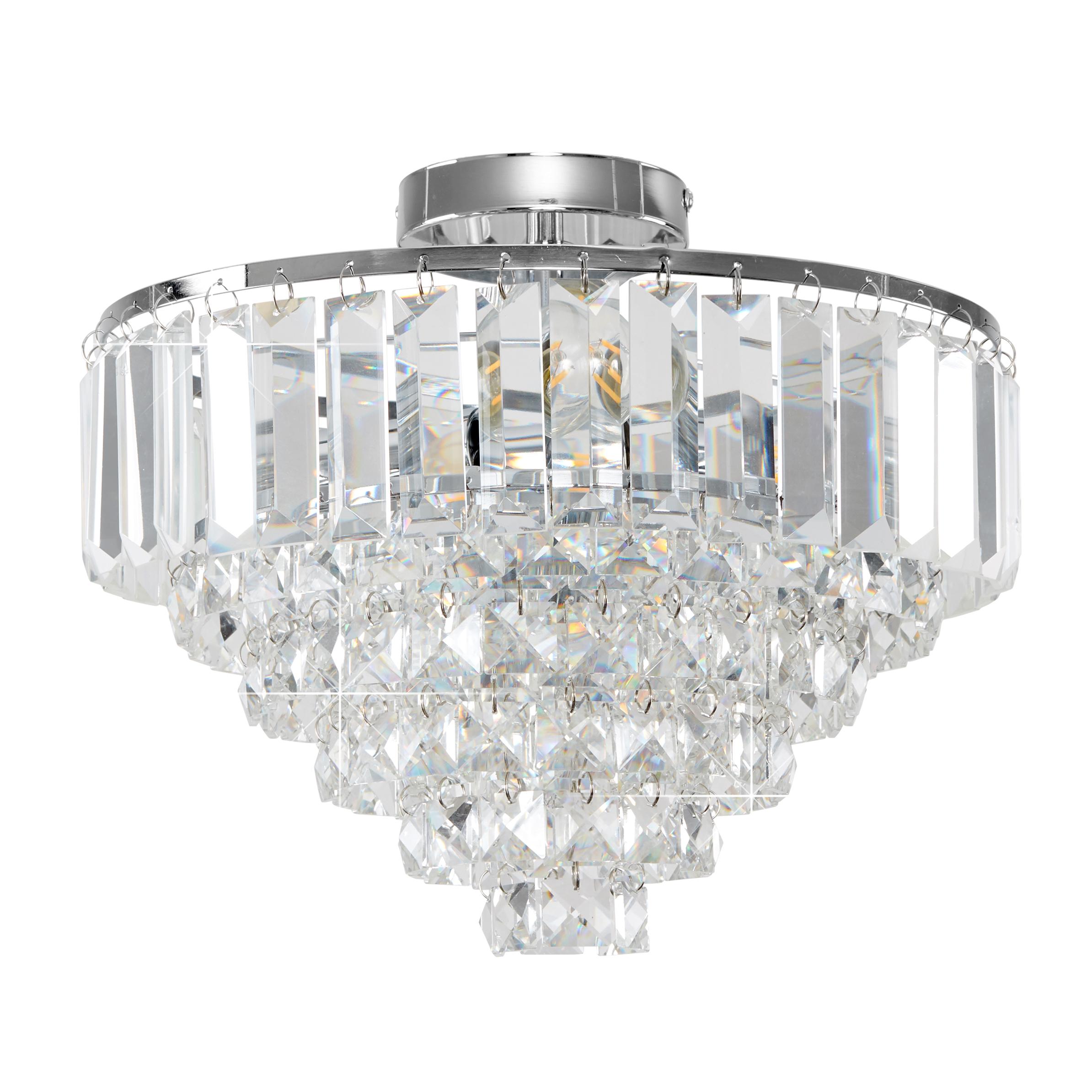 Iconic Mesita K9 Crystal Chrome Flush Ceiling Light
