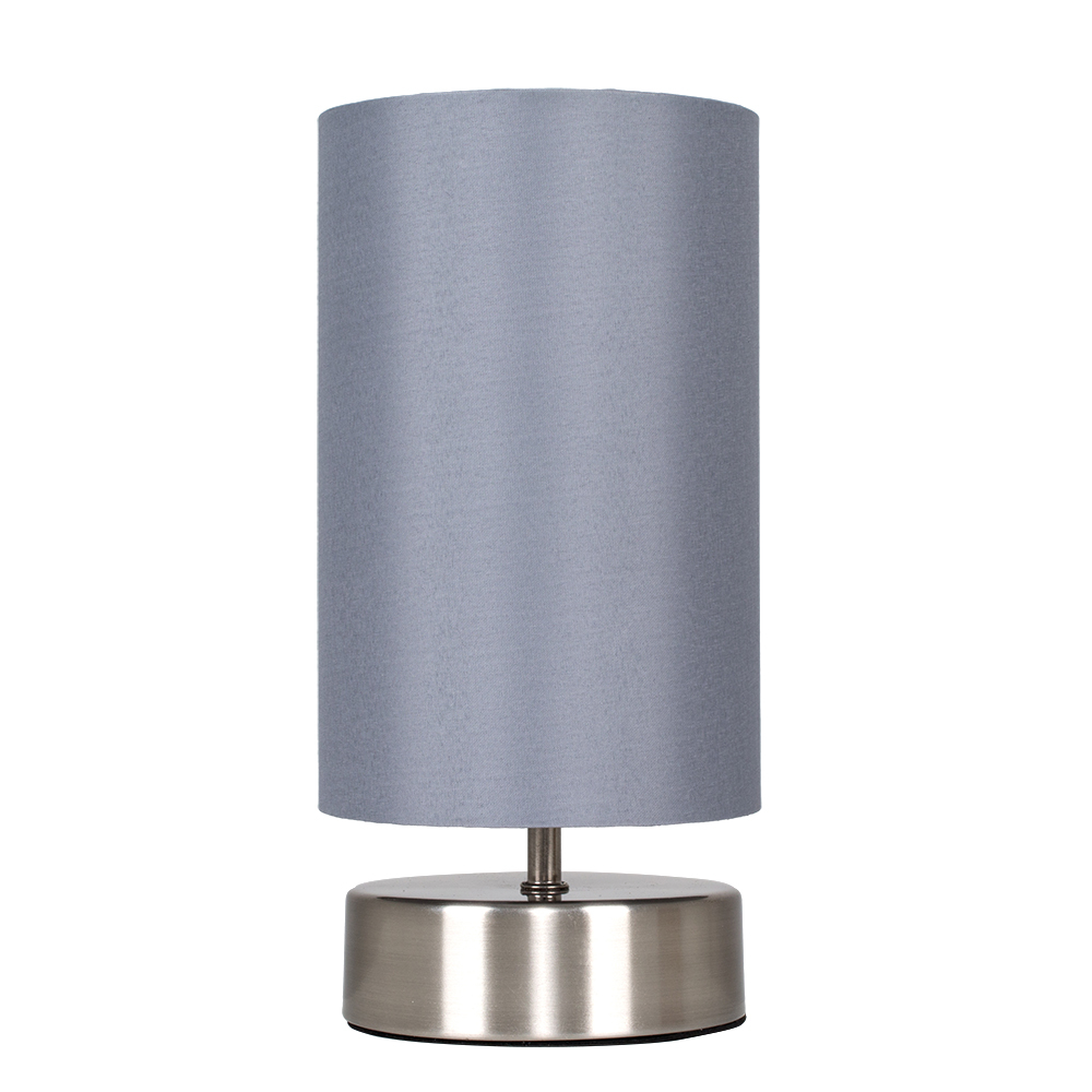 Francis Touch Table Lamp in Brushed Chrome with Grey Shade