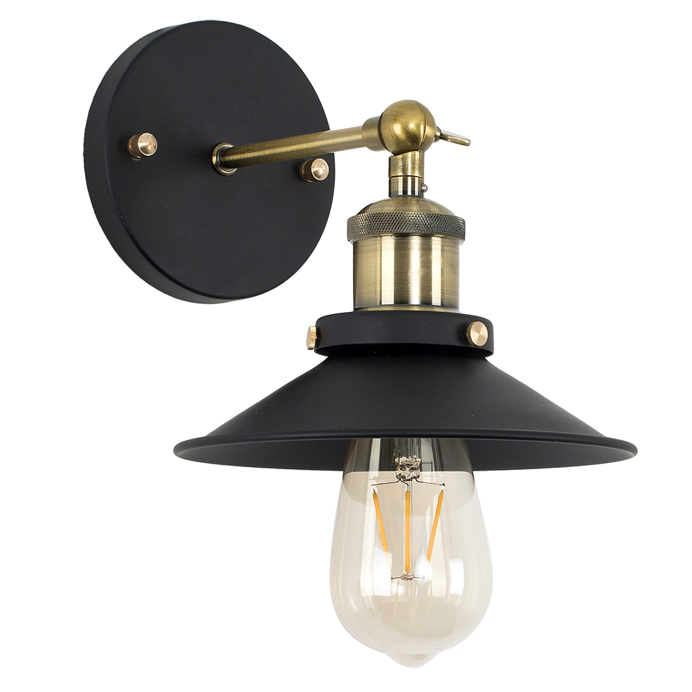 Colonial Steampunk Wall Light in Black and Antique Brass