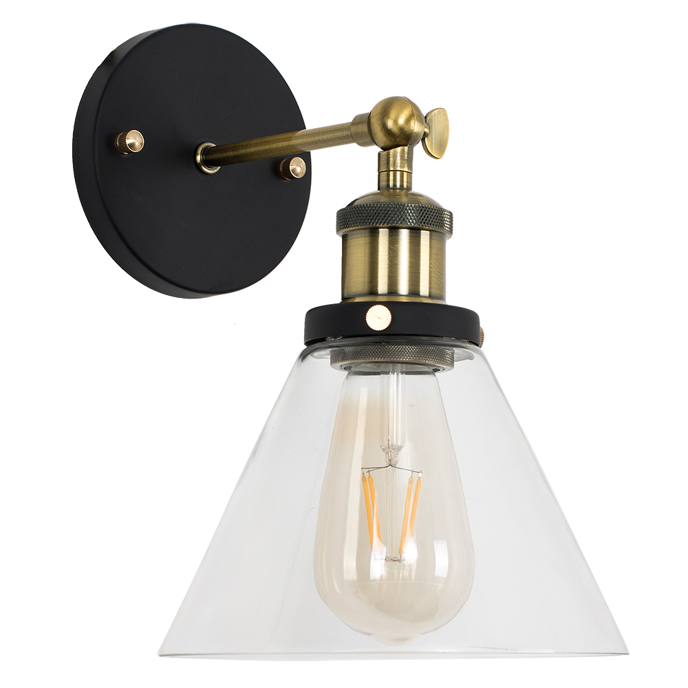Norton Steampunk Wall Light with Glass Shade