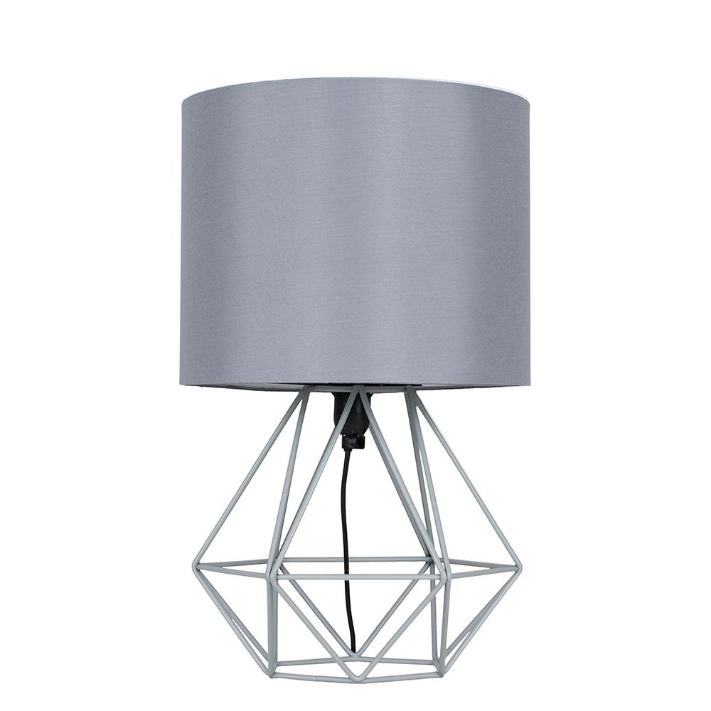 Angus Geometric Grey Table Lamp with Grey Shade