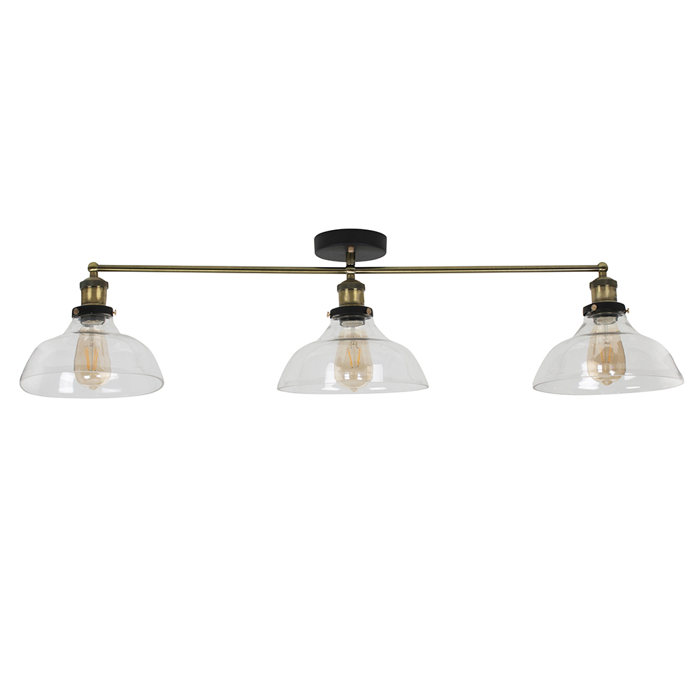 Wallace 3 Way Bar with Clear Glass Shades