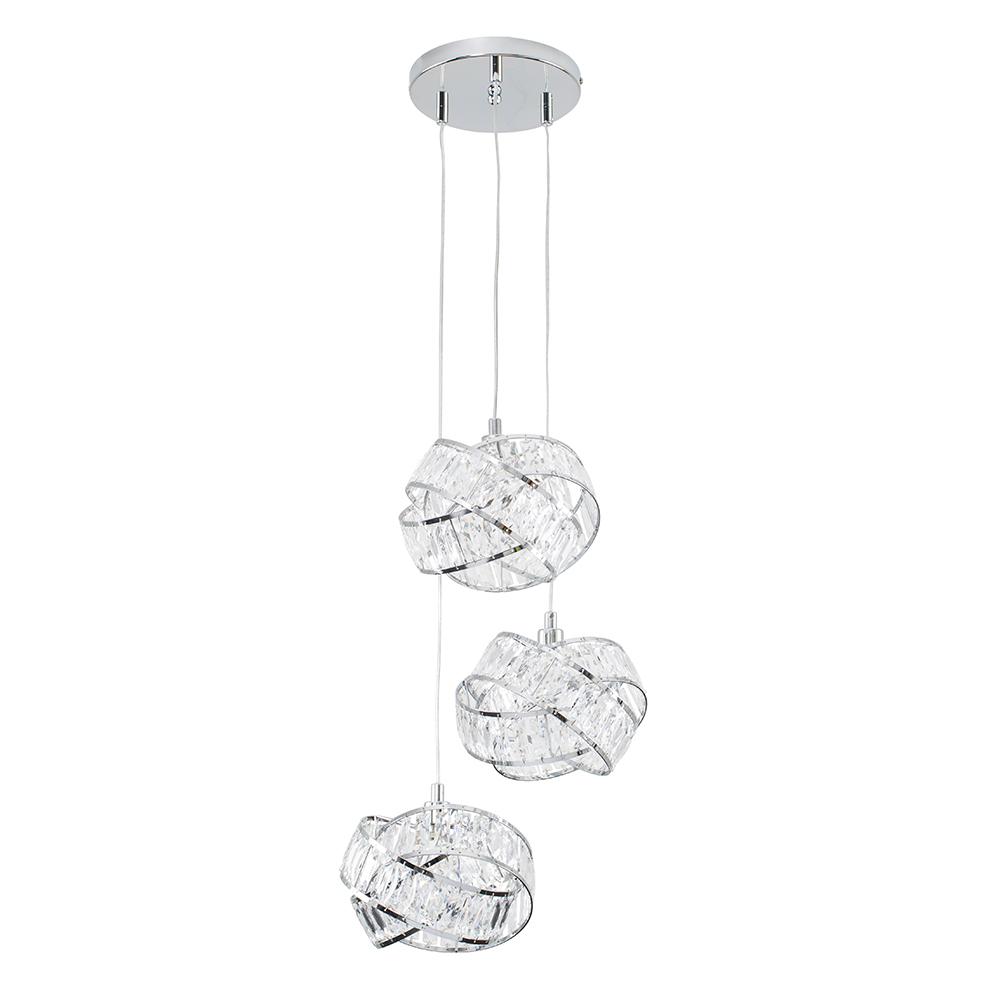 Hudson Intertwined 3 Way Ceiling Light in Chrome and Clear