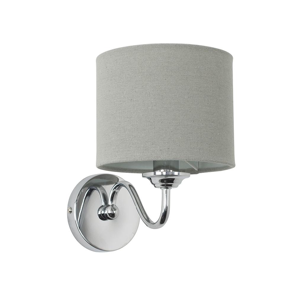 Rocha Single Chrome Wall Light with Grey Shade