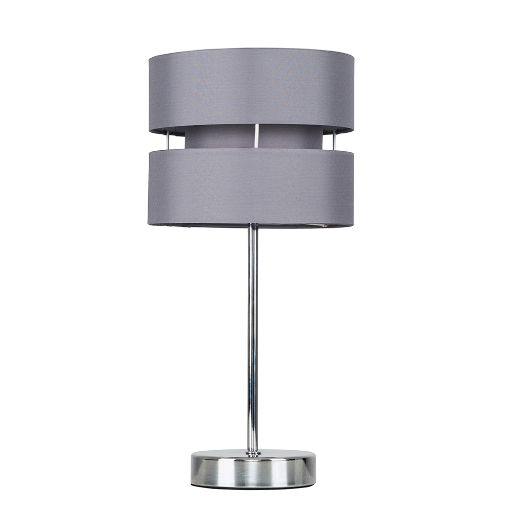 Pinto Chrome Touch Table Lamp with Grey Shade
