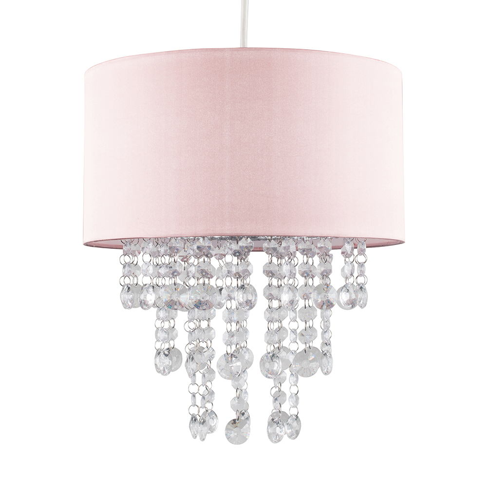 Jesmond Dusty Pink Pendant Shade with Clear Droplets