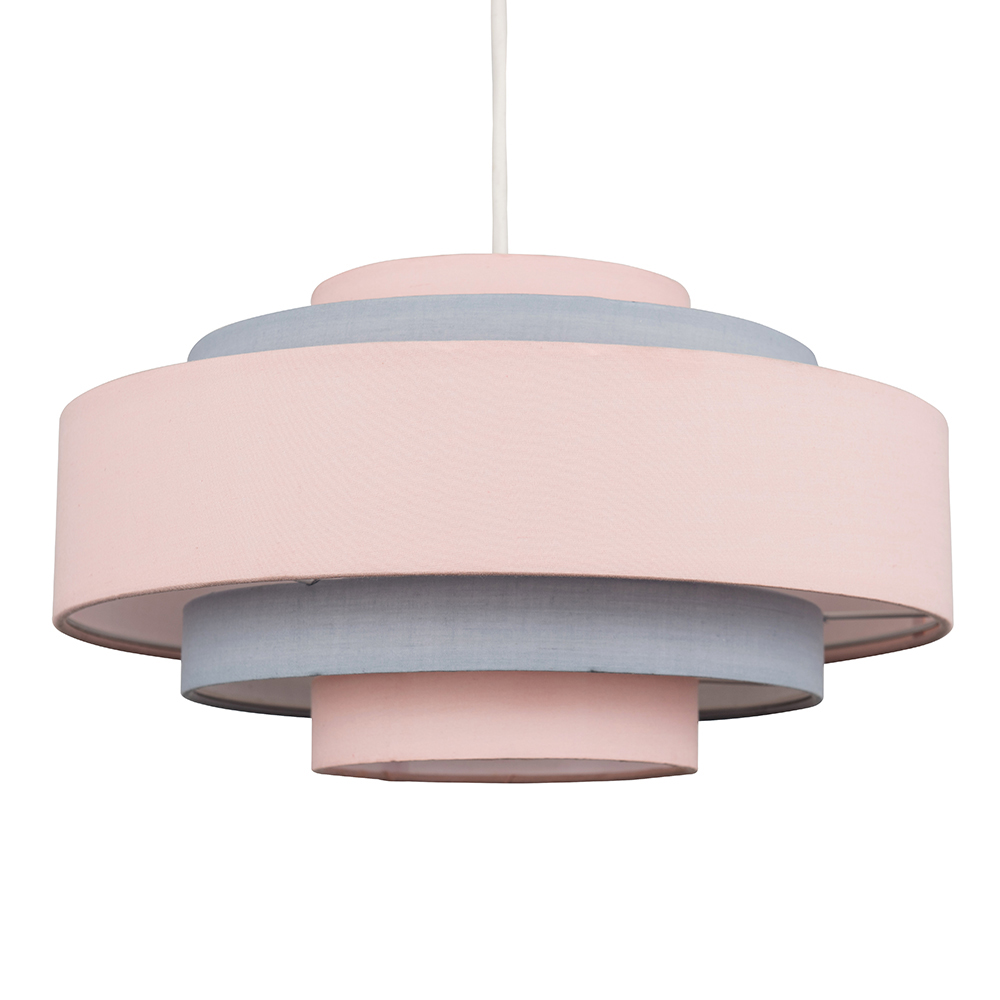 Hampshire 5 Tier Dusty Pink And Grey, Pink Grey And White Lamp Shade