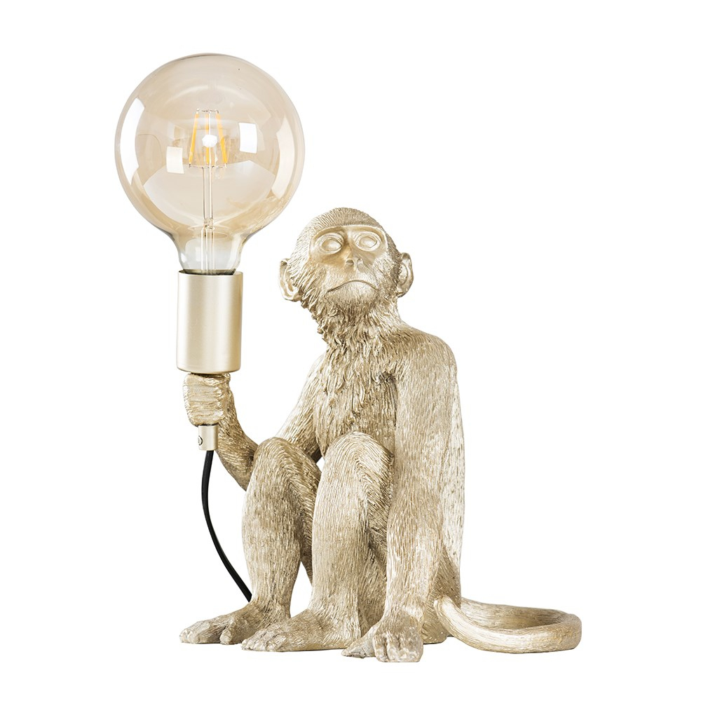 George Monkey Table Lamp in Champagne Silver
