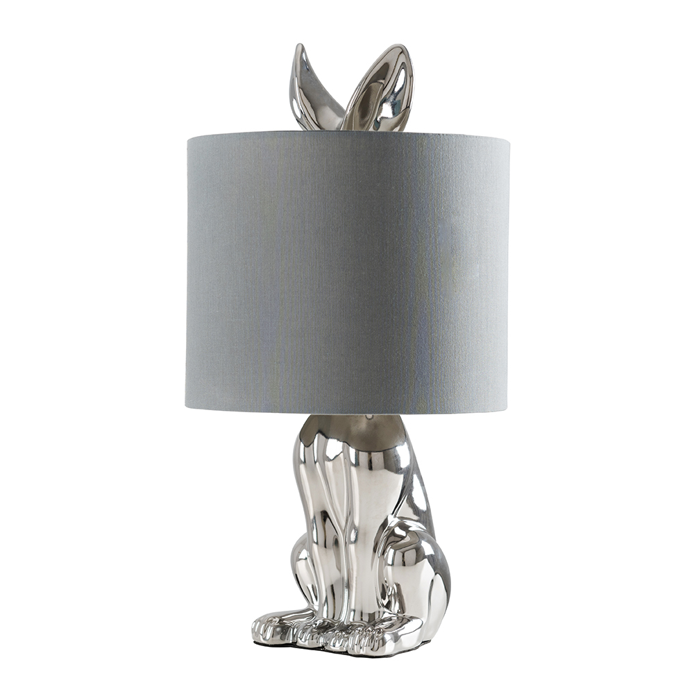 Lepus Chrome Table Lamp with Grey Shade