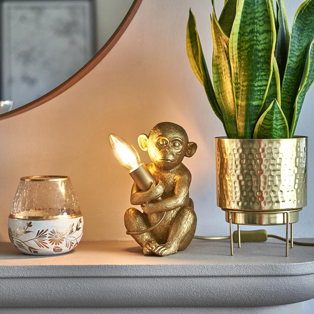 Baby Georgina Monkey Table Lamp in Metallic Gold