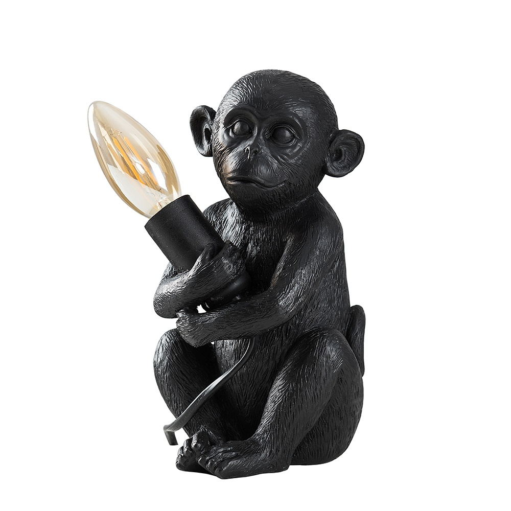 Baby Georgina Monkey Table Lamp in Matt Black