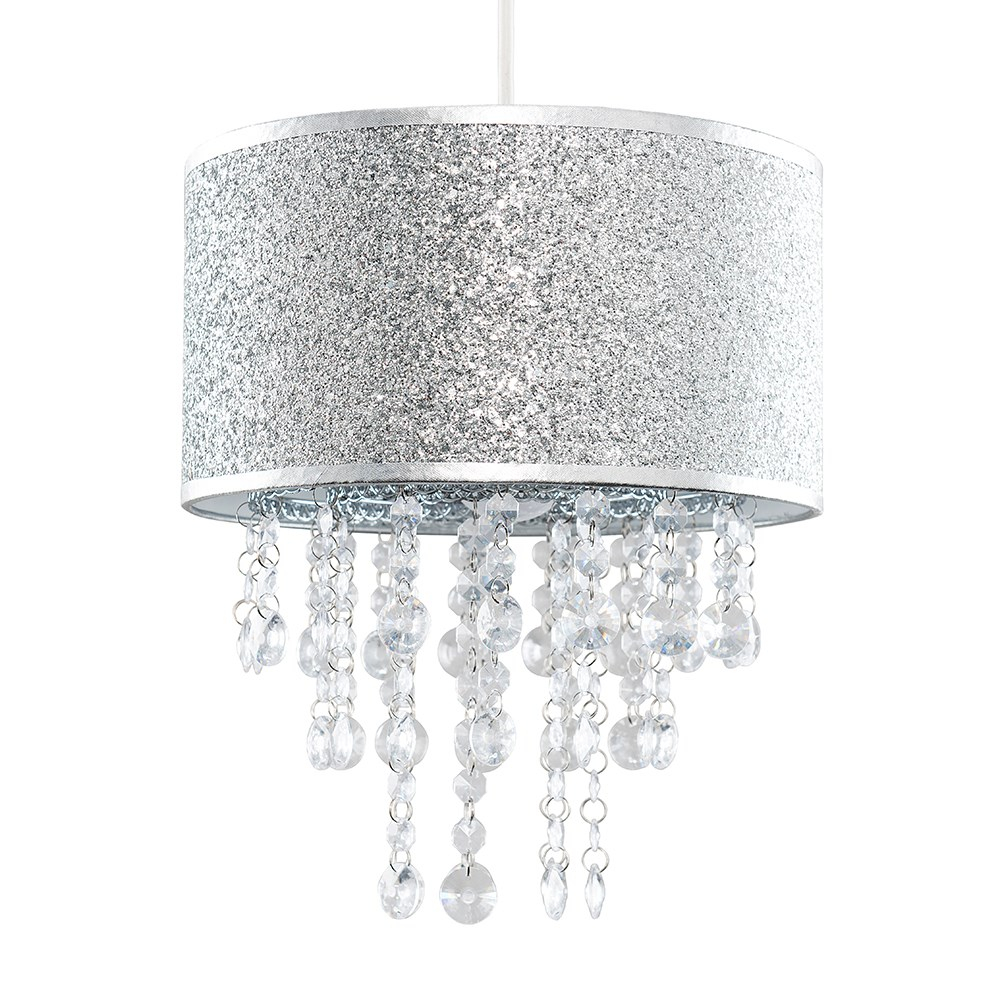 Bonita Silver Glitter Pendant Shade with Clear Droplets