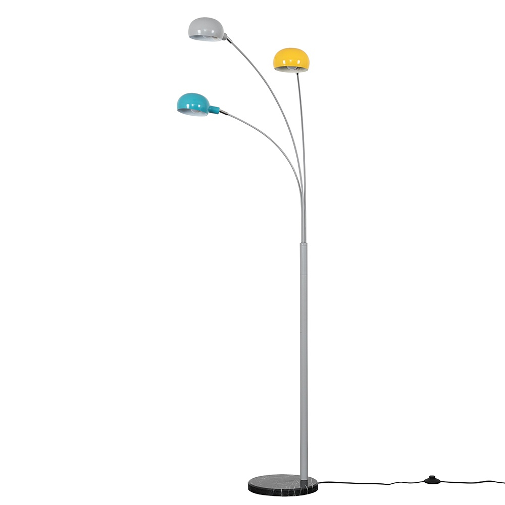 Curva Cool Grey Floor Lamp with Multi Coloured Shades