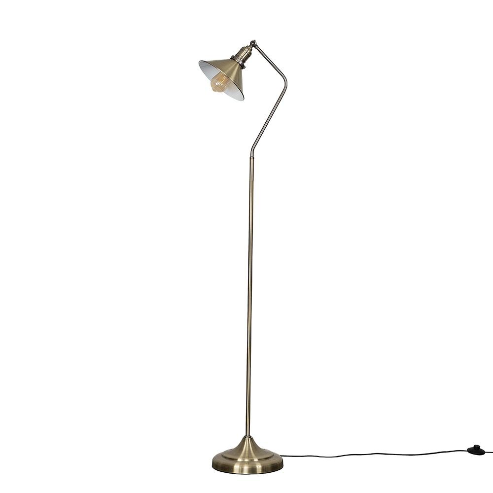 Corinthia Antique Brass Angled Floor Lamp