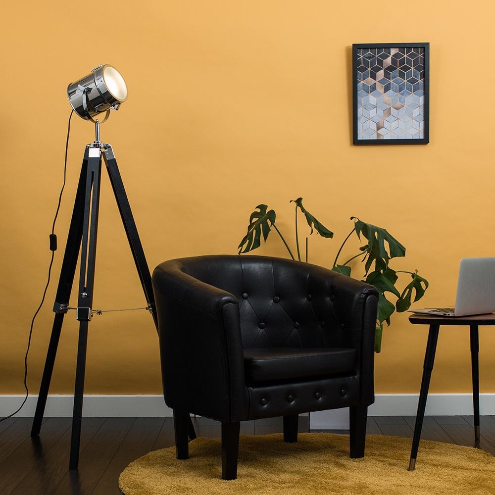 Starboard Matt Black and Chrome Tripod Floor Lamp