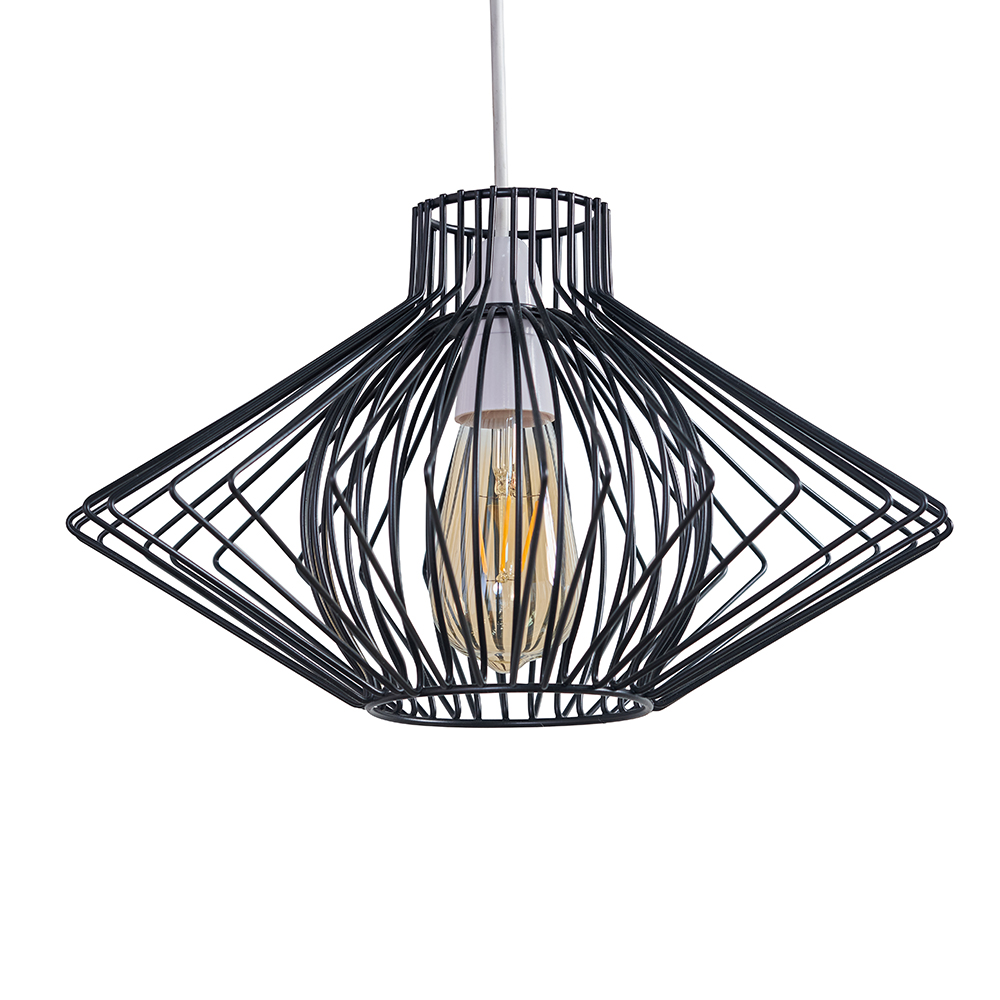 Sinat Wire Frame Pendant Shade in Black
