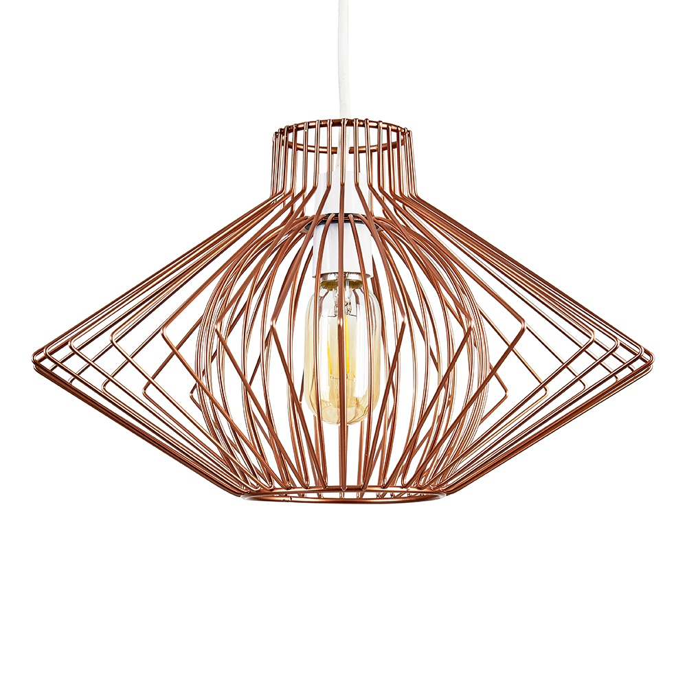 Sinat Wire Frame Pendant Shade in Copper