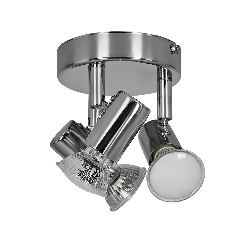 Consul Mini 3 Way Round Ceiling Spotlight in Chrome