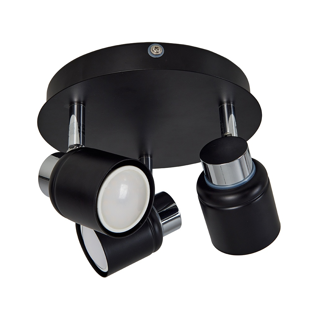 Benton IP44 3 Way Ceiling Spotlight in Chrome and Black
