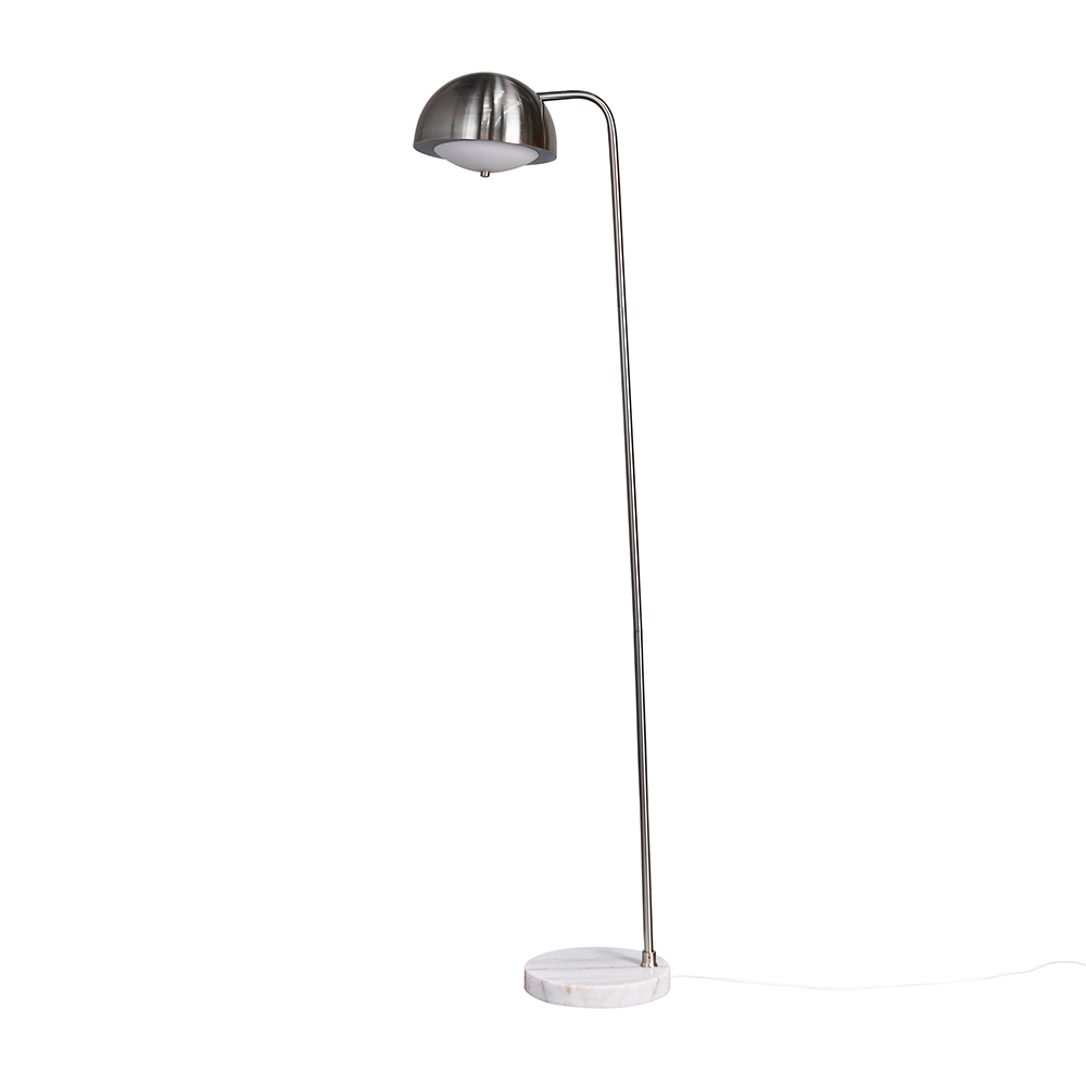 Eddie Brushed Chrome Floor Lamp with White Marble Base
