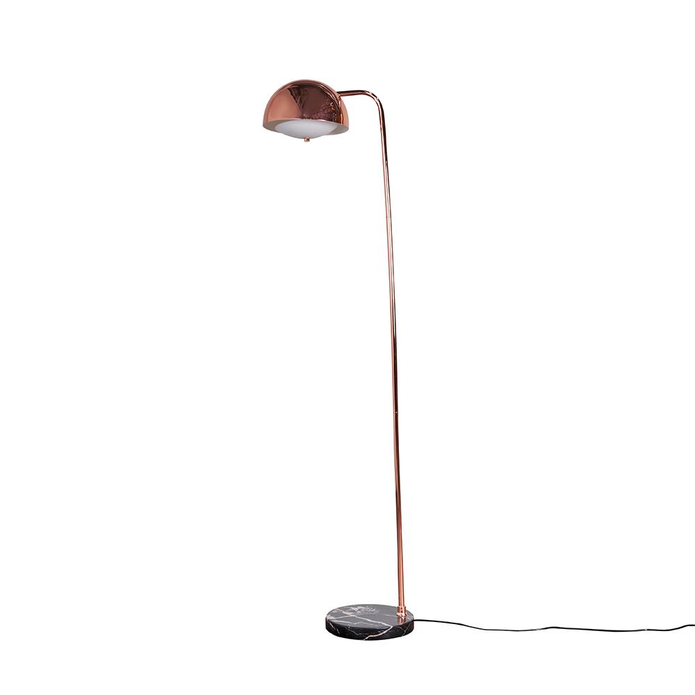 Eddie Copper Floor Lamp with Black Marble Base