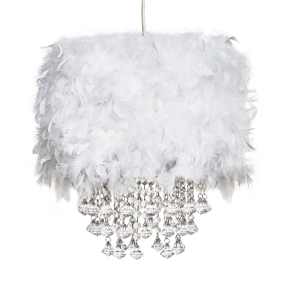 Uriel Feather Pendant Shade in White with Acrylic Droplets