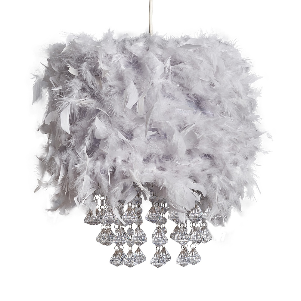 Uriel Feather Pendant Shade in Grey with Acrylic Droplets