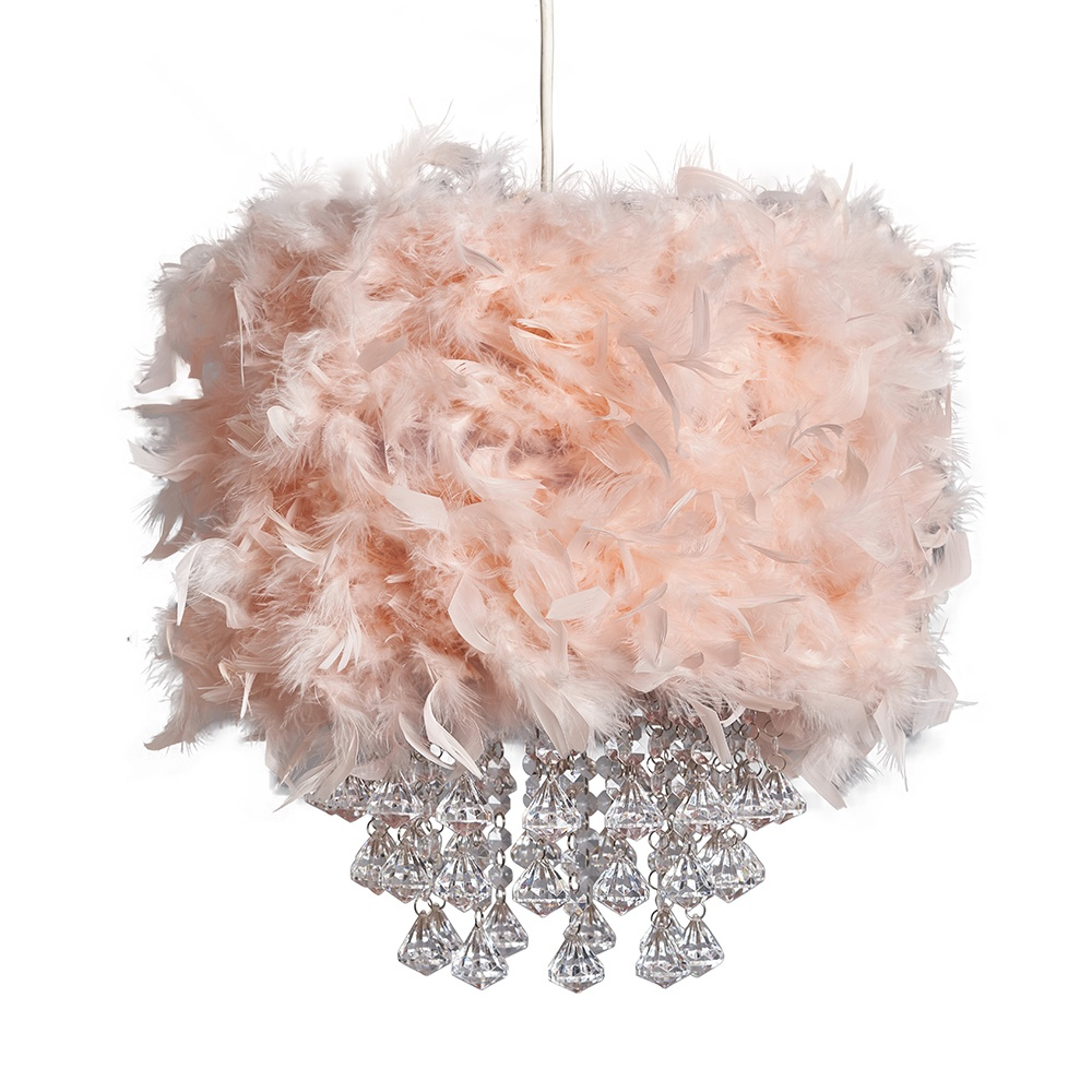 Uriel Feather Pendant Shade in Pink with Acrylic Droplets