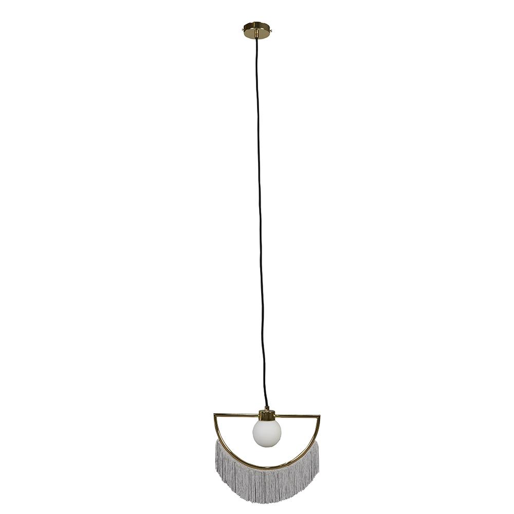 Jupiter Polished Brass Pendant Ceiling Light with Grey Tassels