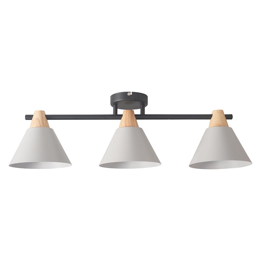 Giza 3 Way Matt Black Bar Ceiling Light with Wood and Grey Shades