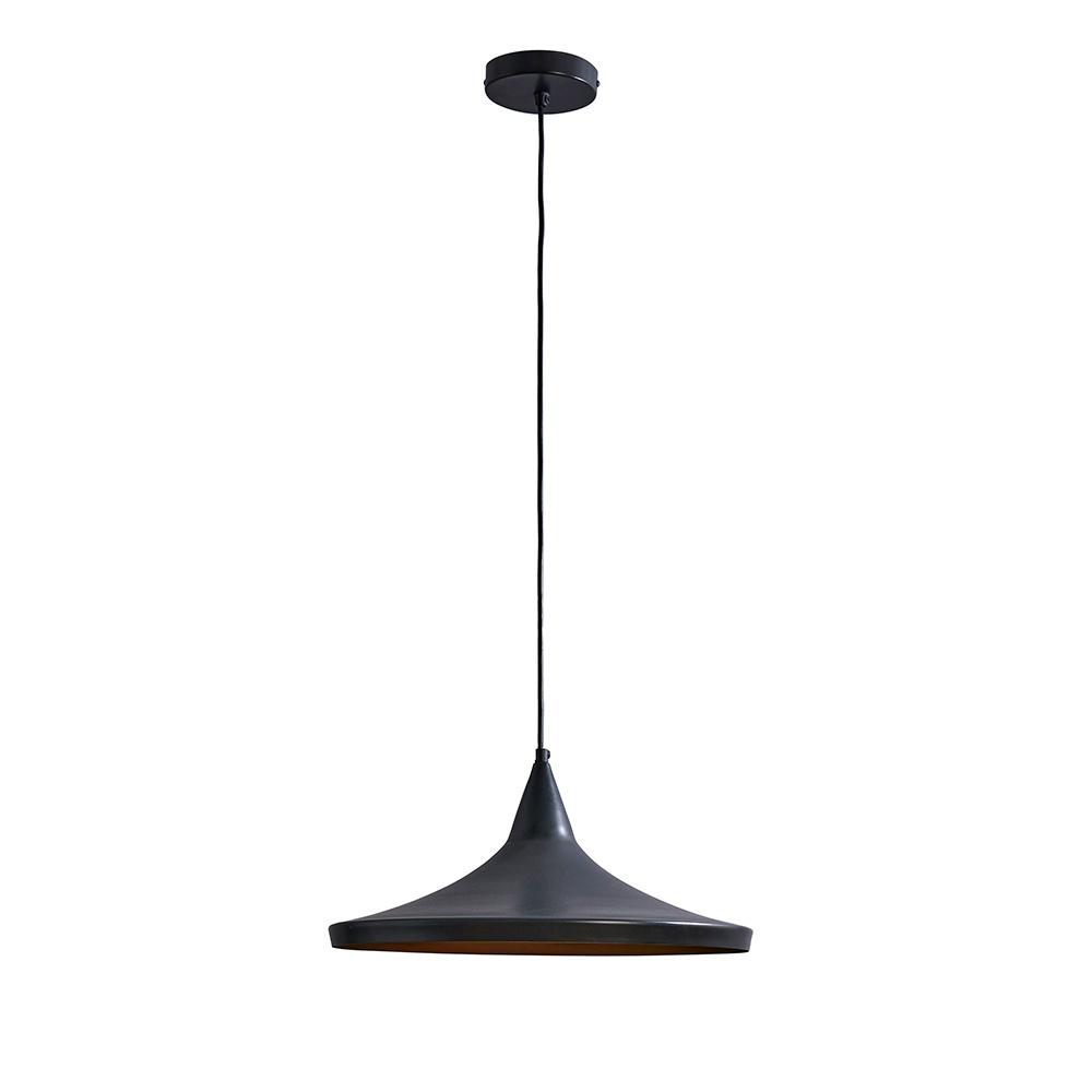 Amini Large Matt Black Pendant Ceiling Light with Gold Inner