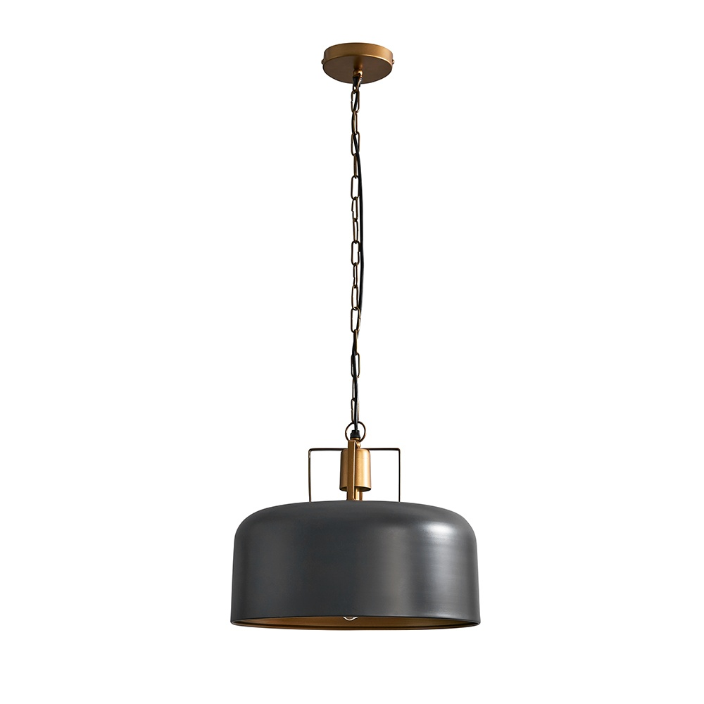 Rossio Matt Black Pendant Ceiling Light with Gold Inner