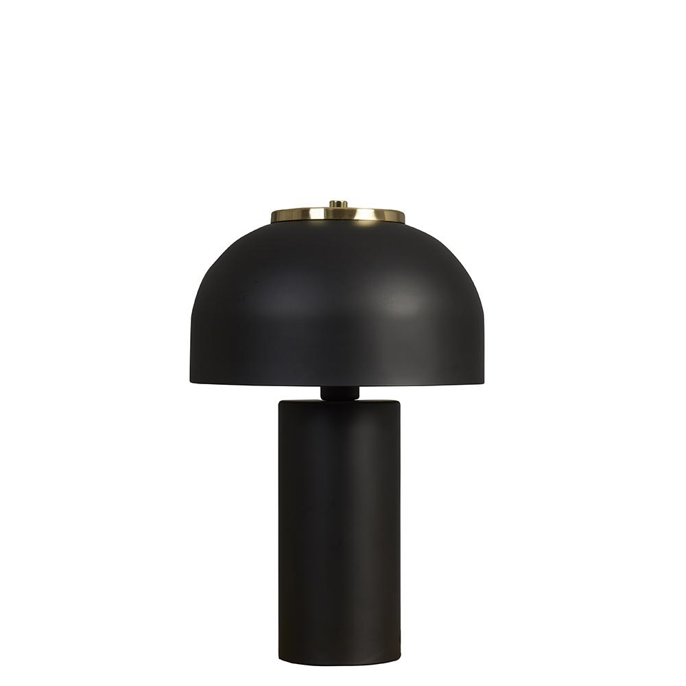 Geneva Matt Black and Brass Cylinder Table Lamp
